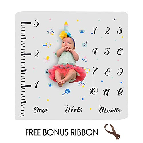 Babboo Baby Monthly Milestone Blanket for Boys & Girls | Newborns & Infants Personalized Photography Prop | Watch & Picture Baby Growth | Large 47x47 | All-Natural Soft Cotton Muslin, 4 Layers
