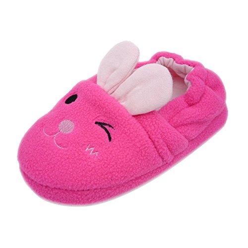 QGAKAGO Toddler Girl's Rabbit Cotton Warm Winter Non-Slip Slipper 6-7 M US Toddler Pink