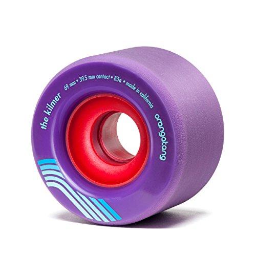 Orangatang Kilmer 69 mm 83a Freeride Longboard Skateboard Wheels w/Loaded Jehu V2 Bearings (Purple, Set of 4)
