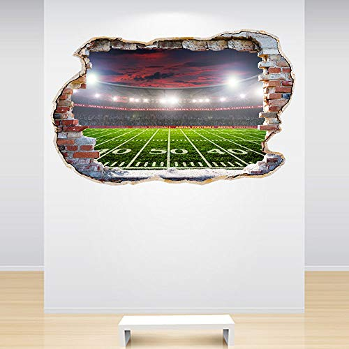 (Full Colour American Football Stadium Smashed Wall 3D Effect Boys Bedroom Wall Sticker Decal Kids Bedroom)