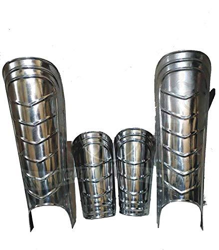 Piru Medieval Iron Steel Arm Guards and Leg Guards Set Vambraces Leg Greaves Armor -