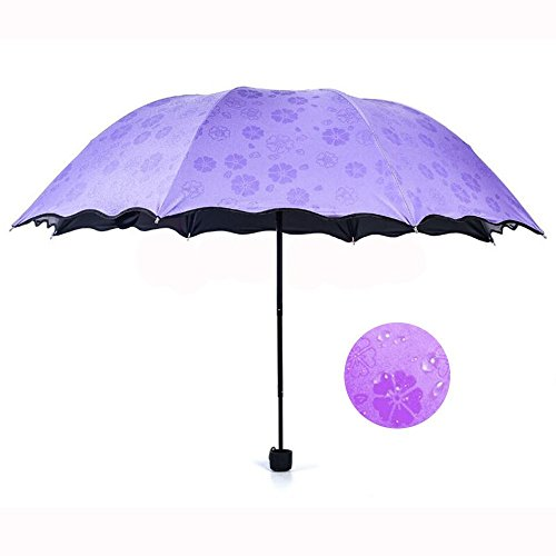 Alotm Windproof Travel Umbrella Mini Compact Lightweight Folding Sunshade UV Protection Outdoor Sports Umbrellas for Women Girls Kids - Magical Bloom Flower in Rain Water (Purple) (Rain Purple Flowers)