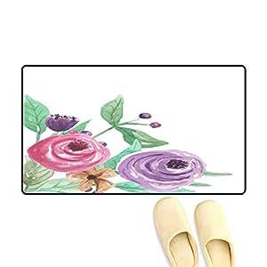 Amazon.com: Floor Mat Pattern Watercolor Corner Pink