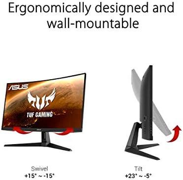 "ASUS TUF Gaming VG27WQ1B 27"" Curved Monitor, 1440P WQHD (2560 x 1440), 165Hz (Supports 144Hz), 1ms, Adaptive-sync/FreeSync Premium, Extreme Low Motion Blur, Eye Care, HDMI DisplayPort, HDR10"