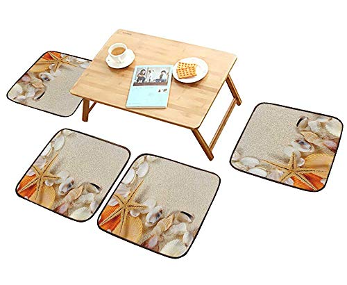 - HuaWu-home Chair Cushions Group of Seashells starfishes on The Sand Non Slip Comfortable W25.5 x L25.5/4PCS Set