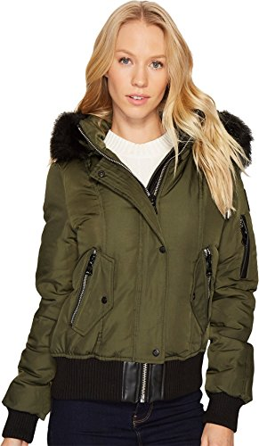 Vince Camuto Womens Down Bomber with Faux Fur Hood N8331 Olive SM (US 4-6) One Size