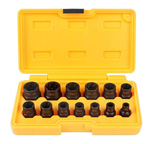 Amartisan Lmpact Nut & Bolt Extractor Set 13 Pieces, Nut Extractor Socket, Bolt Extractor Set, Bolt Remover Tool Set (19mm Bolt)