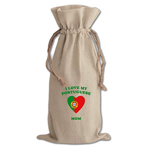 I Love My Portuguese Mom Cotton Canvas Wine Bag, Cotton Drawstring Wine Pouch