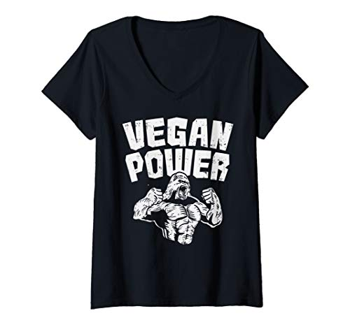 (Womens Vegan Power Gorilla Funny Raw Food Workout Gym Fit Muscle V-Neck T-Shirt)