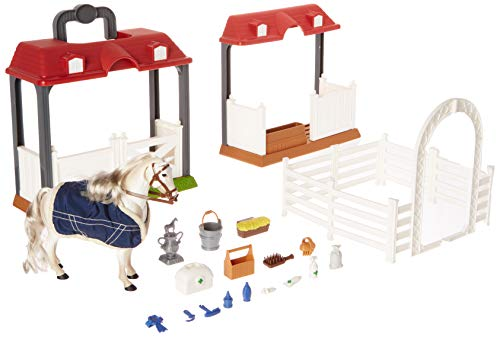 Sunny Days Entertainment Blue Ribbon Champions Deluxe Lipizzaner Grooming Stable Playset with 29 Realistic Accessories