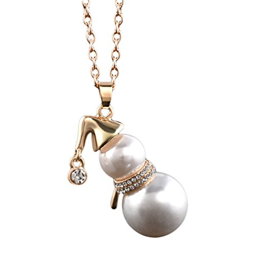 Floralby Women Sweater Necklace Chain Faux Pearl Snowman Long Pendant Clothing accessories