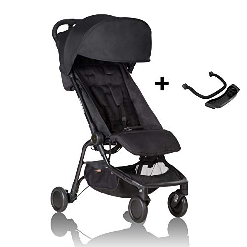 Mountain Buggy Nano Stroller, Black Bundle with Grab Bar & Food Tray - Lightweight, Easy to Assemble and Durable Compact Fold - Ideal for Family Travel