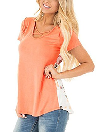 Amelitorty Women Casual Floral Print Back V Neck Criss Cross Short Sleeve Blouse - Criss Orange Cross
