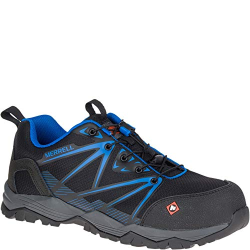 Merrell Men's, Fullbench Composite Toe Work Shoes 5-Black Blue-Blank 10.5 M ()
