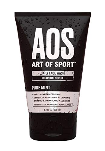 Art of Sport Daily Face Wash, Charcoal Face Scrub, Exfoliating Face Wash for Men, Tea Tree Oil, Aloe Vera and Bamboo Extract, Pure Mint Scent, Paraben Free, 4.2 fl oz