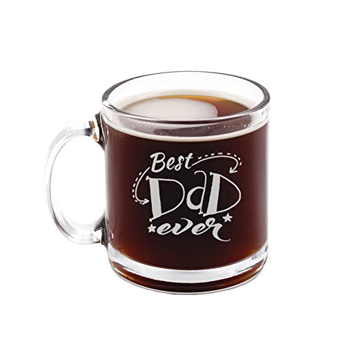 Best Dad Ever - Funny Novelty Glass Coffee Mug with Stencil and Gift Box - 12 oz - Birthday Father