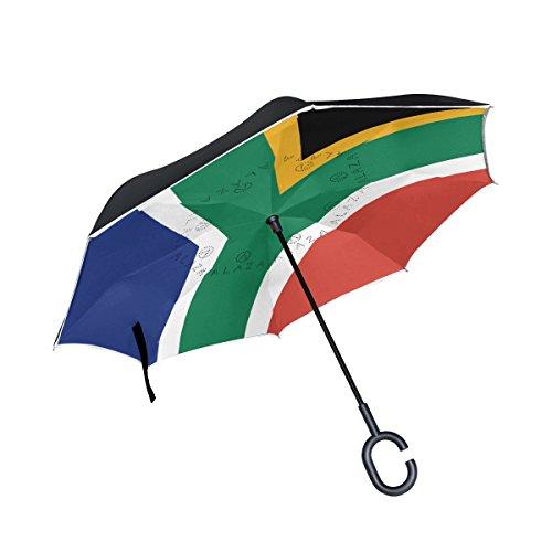 CHLBOJ Double Layer Inverted Umbrella Cars Reverse Umbrella South Africa Flag Windproof UV Proof Travel Outdoor Umbrella by CHLBOJ