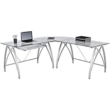 realspace vista l shaped glass computer desk silver office products. Black Bedroom Furniture Sets. Home Design Ideas