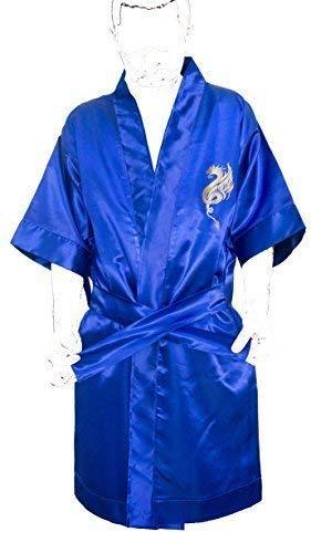 Dressing Night GOWN Kimono Japanese Embroidered Dragon Silk Satin Dark Blue