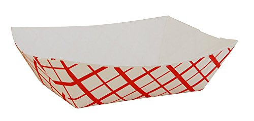 Southern Champion Paperboard Check Food Tray, 1 lb. Capacity, Red (Pack of 50)