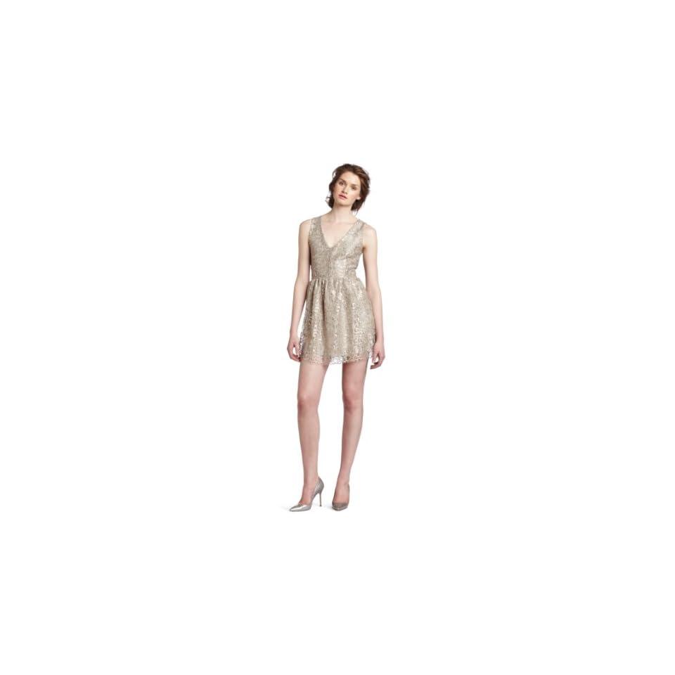 eight sixty Womens V Neck Dress, Champagne/Silver, Medium