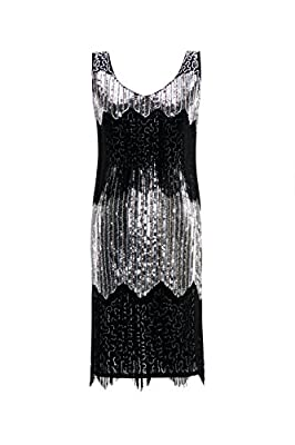 Metme Women's 1920s Vintage Fringe Flapper Dresses Great Gatsby Party Dress Prom