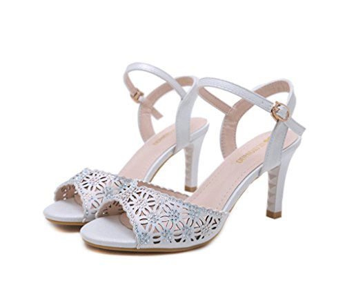 Abierta Sandalias para de Moda de Blanco Sandalias Tacón Primavera Sandalias Alto Mujer Verano con y Punta UqwPx8a