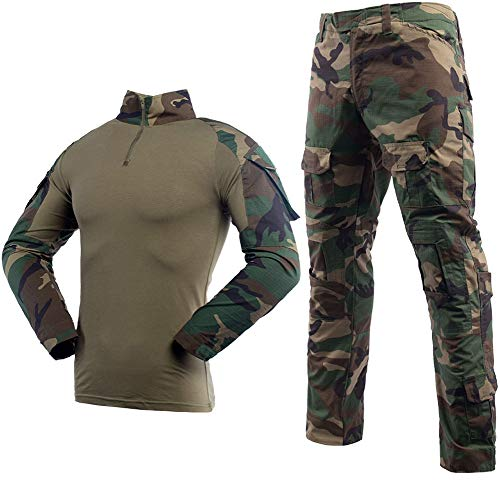 LANBAOSI Men's Tactical Combat Shirt and Pants Set Long Sleeve Multicam Woodland BDU Hunting Military Uniform 1/4 Zip (Woodland Camo Bdu Shirt)
