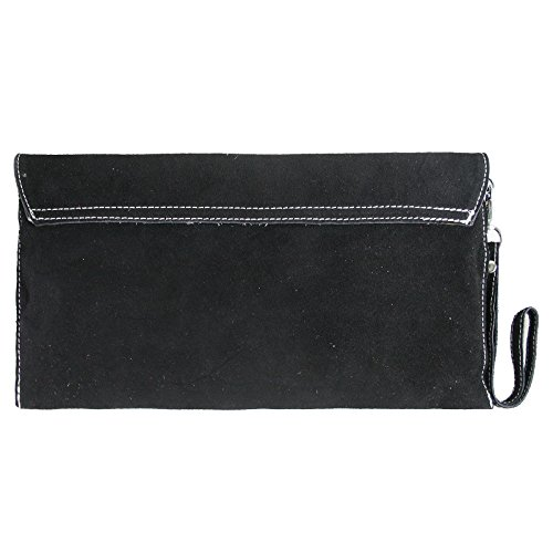 Genuine Evening Bag Suede Small Womens Clutch Italian Black Envelope Leather Elegant Hx5Cq78wq