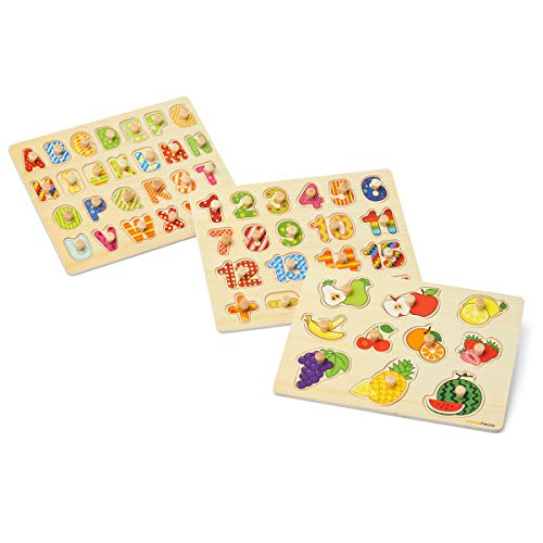Orange Pieces Wooden Peg Puzzle for Toddlers - 3 Pk Puzzle Set for Kids Alphabet ABC, Numbers and Fruit Toy - Pegged Puzzles for Kid Learning Letters, Number, Fruit Board Puzzles for Toddler Ages 3+