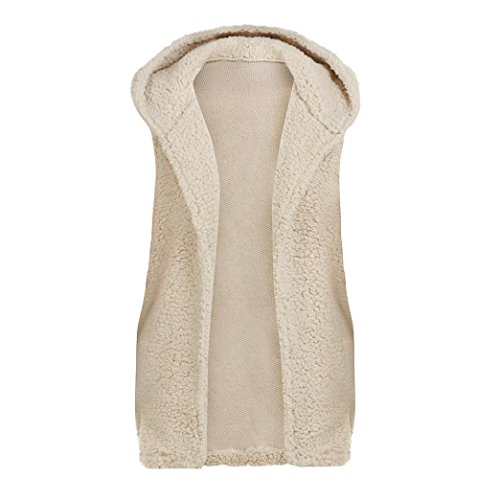 Casual Abrigo Niñas Chaleco Camiseta con de Mujers Capucha Chaquetas Lenfesh Cálido Mangas Caliente Suéter Beige sin Inviern Pqx4ZnApWw