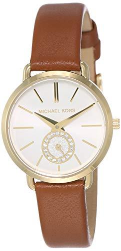 Michael Kors Women's Stainless Steel Quartz Watch with Leather Calfskin Strap, Brown, 12 (Model: MK2734) (Rhinestone Watch Michael Kors)