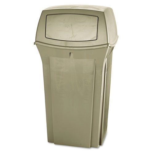 (Rubbermaid Commercial Ranger Fire-Safe Container, Square, Structural Foam, 35gal, Beige)