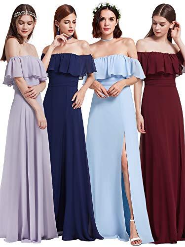 (Ever-Pretty Womens Off Shoulder Formal Ruffles Long Party Dress 8US Sky)