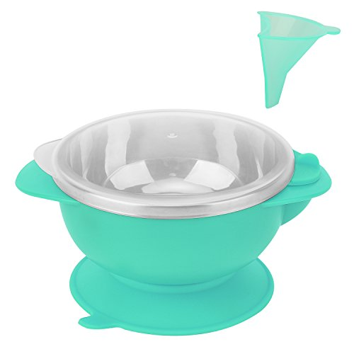 Zooawa Baby Insulation Suction Bowl, Stainless Steel Nonslip Spill Proof Feeding Training Bowl Insulated Water Keep Food Warming Dinnerware, BPA-Free, Blue by Zooawa