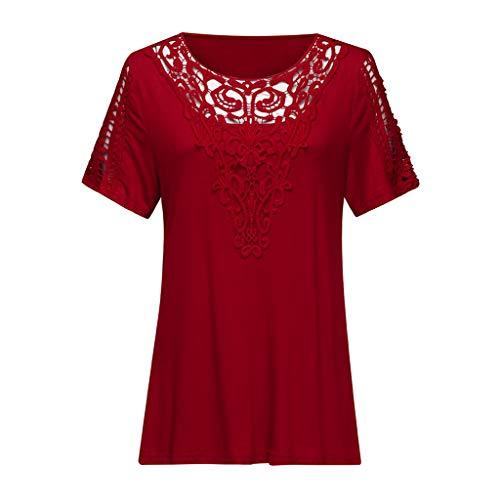 - HIRIRI Plus Size Women Shirts Short Sleeve Applique Hollow Out T-Shirt Tank Crop Top V-Neck Loose Blouses Red