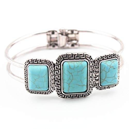 Global Huntress Antique Silver Natural Green Turquoise Square Shaped Stones Spring Open Cuff Embellished Bracelet