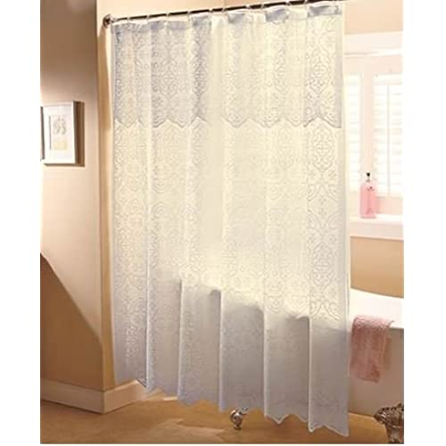 Ivory Lace Shower Curtain With Liner