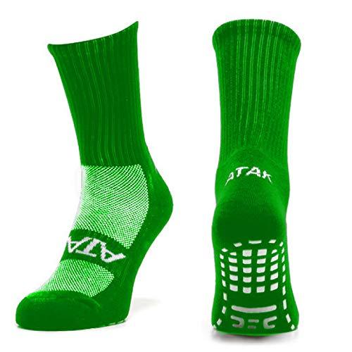Plain Green Atak Unisexs Grip Mid Leg Socks 6-8