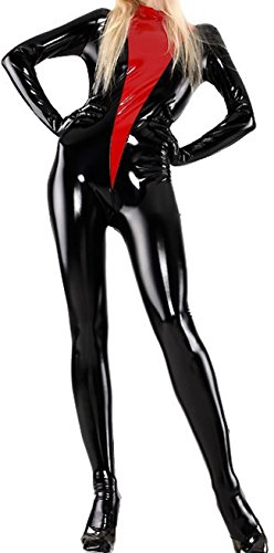 VsvoLatex Women's Latex Gummi Rubber Jumpsuit Unitard Catsuit Zentai Skinsuit (Large, (Black Skinsuit)