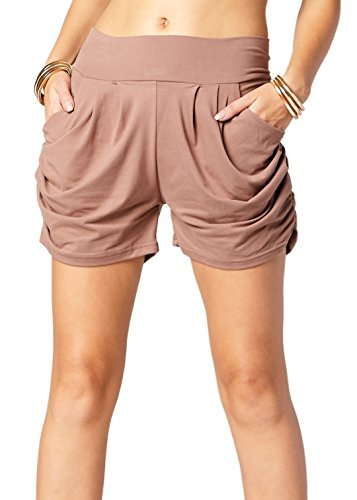 Premium Ultra Soft Harem High Waisted Shorts for Women with Pockets - Solid - Mocha - Small/Medium (0-10)