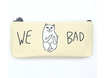 Estuche de lona con diseño de gato para estudiantes, ideal para estuches: Amazon.es: Oficina y papelería