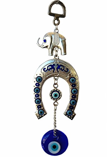 Blue Evil Eye with Elephant and Horse Shoe Hanging for Protection (With a Betterdecor ()