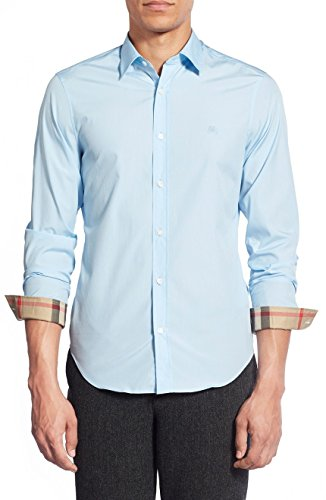 Burberry Brit Men's Light Blue Henry Trim Fit Stretch Cotton Logo Sport Shirt - Brit Logo Burberry