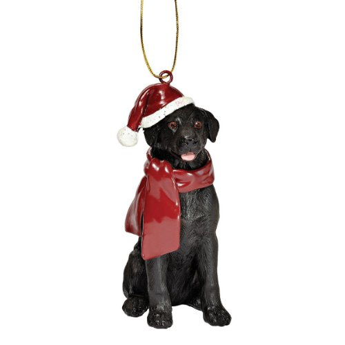 Design Toscano Black Labrador Retriever Holiday Dog Christmas Tree Ornament Xmas Decorations, 3 Inch, Full Color Dog Christmas Holiday Ornament