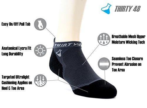 Thirty 48 Ultralight Athletic Running Socks for Men and Women with Seamless Toe, Moisture Wicking, Cushion Padding (Medium - Women 7-8.5 // Men 8-9.5, [3 Pairs] Black/Gray)