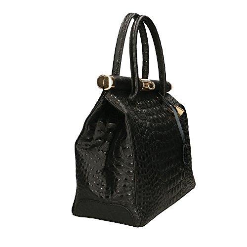 femme Made Sac Noir cuir Aren Italy véritable Cm en à main 32x26x14 in dC0Zdwxqt