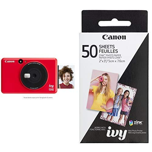 Canon IVY CLIQ Instant Camera Printer Mobile Mini Printe, Ladybug Red with Canon ZINK Photo Paper Pack, 50 Sheets