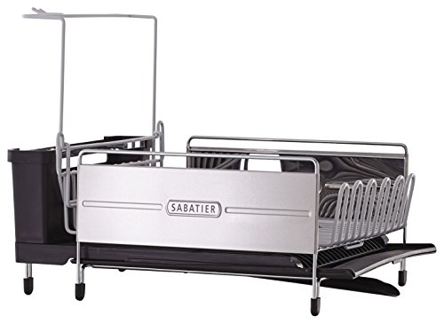 - Sabatier 5199813 Expandable Stainless Steel Dish Rack with Rust-Resistant Soft Coated Wires and Bi-Directional Spout, Silver/Gray