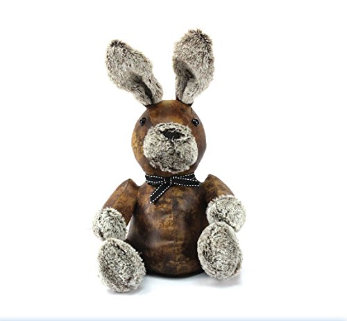 Mezzaluna Gifts Luxury Large Faux Brown Leather Bunny with Fluffy Nose & Paws Rabbit Doorstop